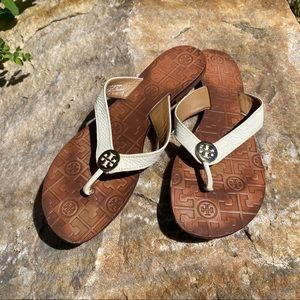 Tory Burch Cream leather Flip Flops